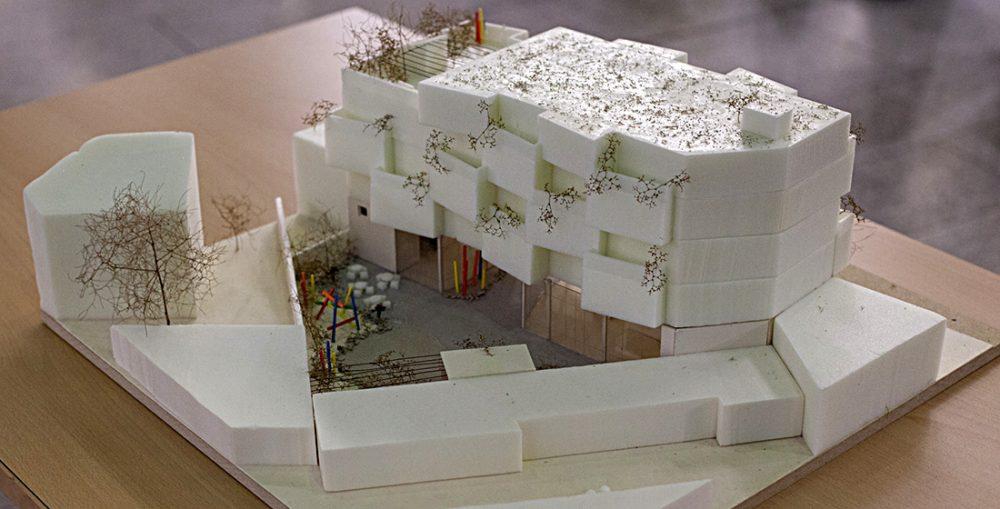 Hofansicht des Siegermodells der Architektin Moelleken von der TH Köln für das Integrationshaus CASA COLONIA, 2016, Foto: Anatoliy Stepanko