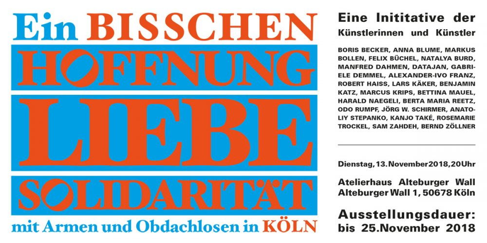 """Einladungskarte für die Ausstellungseröffnung """"Ein bisschen Hoffnung, Liebe, Solidarität, Atelierhaus Alteburger Wall"""