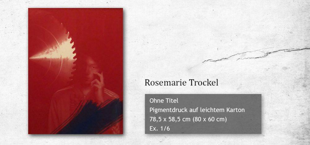 Ein Pigmentdruck auf leichtem Karton von Rosemarie Trockel kann am 05. Dezember 2018 bei VAN HAM ersteigert werden. Der Erlös ist für CASA COLONIA