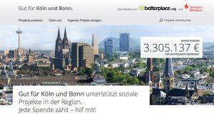 """Am 27.11.2018 verdoppelt die Sparkasse KölnBonn jede Spende bis 100 €, die über das Spendenportal """"Gut für Köln und Bonn"""" eingeht"""