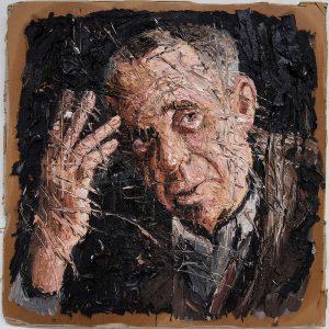 Oliver Jordan, Böll, 70 x 70 cm, Öl auf Pappe, 2017